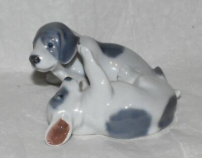 Vintage Royal Copenhagen Gray & White Puppies at Play Figurine Dog Figure 453