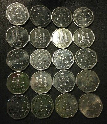 OLD UNITED Arab Emirates Coin Lot - 50 FILS - 20 Uncommon Coins - FREE SHIP