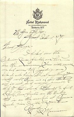 Vintage EARLY 1900'S HOTEL RICHMOND Letterhead BATAVIA NEW YORK