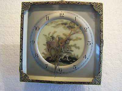 antique brass mantle clock made in england square with painted rickshaw on face