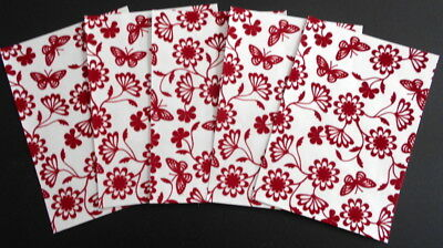 Cristina Re Luxury Flocked Paper X 5  *PAPILLON ROUGE* 15cm x 10.5cm