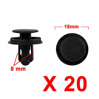 20Pcs 8mm Black Plastic Rivets Push Type Trunk Retainer Fastener Clip for Car