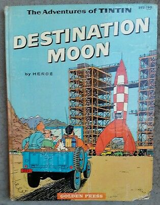HERGE ~ THE ADVENTURES OF TINTIN : DESTINATION MOON 1960 Lge HC 1st Ed