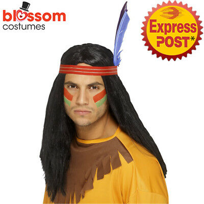 W548 Indian Brave Straight Black Costume Wig Accessory With Headband Wild West