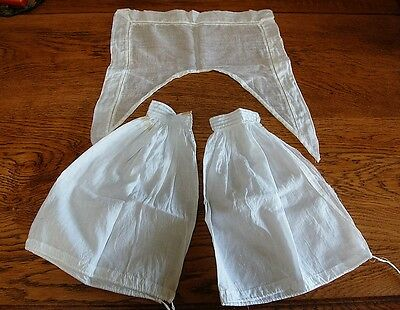 LOT 1800s Vintage French Collar PLUS Detachable Sleeves Engageantes Cuffs White