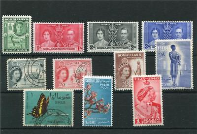 Somaliland Protectorate 11 -- G6/qe2 Lightly Mm/used Stamps On S/card