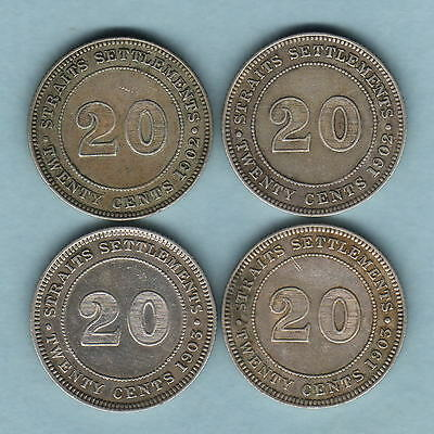 Straits Settlements. 20 Cents : 1902 x2, 1903 x2.. some with Lustre.. aVF-VF/gVF