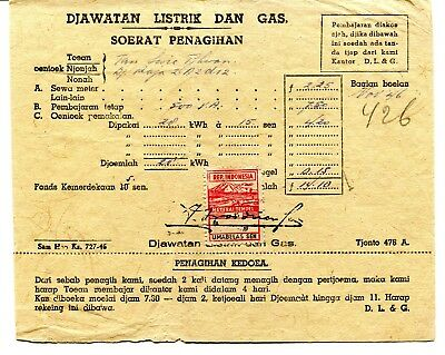 Indonesia 1946-47 two Bureau of Electricity And Gas receipts with fiscals
