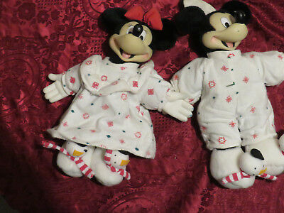 Cute Mickey Mouse and Minnie Mouse in Winter Outfits with  Snowmen Shoes