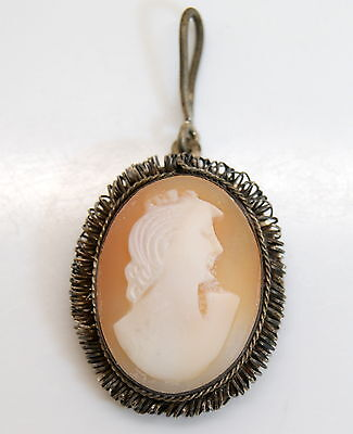 Antique Sterling Silver Extremely Ornate Hand Crafted Cameo Pendant c. 1900s
