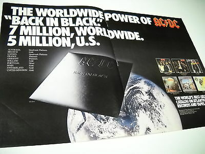 AC/DC Very Rare Supersized 1981 PROMO POSTER AD The Power Of AC/DC Back In Black