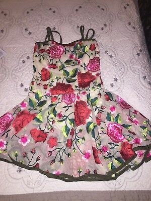 CURTAIN CALL COSTUMES Dance Fully Floral Embroidered Dress Size CLA CHILD LRG
