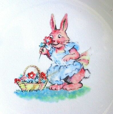 1920s CHILDREN'S DISH BOWL Bunny Rabbit Charming Crazed and Stained SALEM China