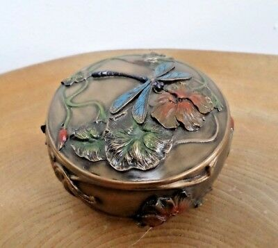 Veronese Art Nouveau Style Cold Cast Bronze Resin 'Dragonfly' Trinket Box