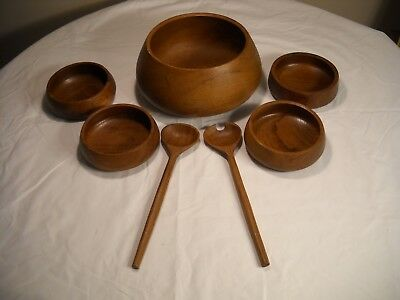 Vintage Mid Century Modern Wooden 7 Pc Bowl Set From Himark
