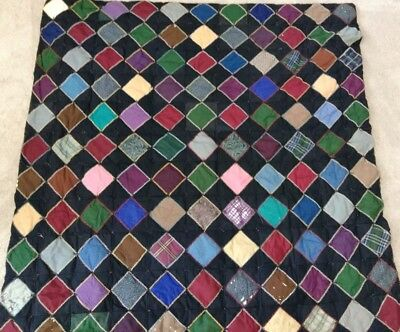 Antique Patchwork Quilt Folk Art Crows Foot Embroidery Lancaster Cty Amish Poly.