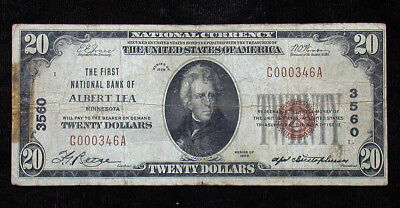1929 The First National Bank of Albert Lea MN National Currency $20 Note rb1833