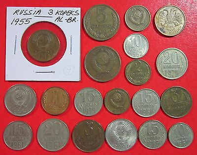 Russia. Vintage Lot Of 20 Assorted Coins. See Pics.