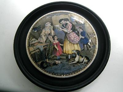 Staffordshire Prattware pottery Pot lid a letter from the diggings framed 19thC
