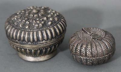2 Antique 19thC Small Handmade Persian .875 Silver Round Boxes, NO RESERVE!