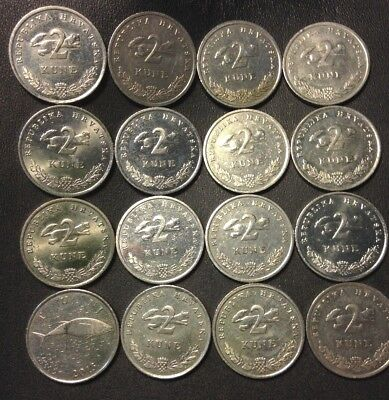 Old CROATIA Coin Lot - 16 High Quality Coins - 2 KUNA - Scarce Type - Lot #520