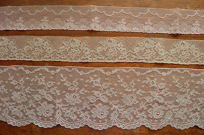 Over 3 Yd Antique French Alencon Victorian Lace Three Designs Ecru & Dusty Pink