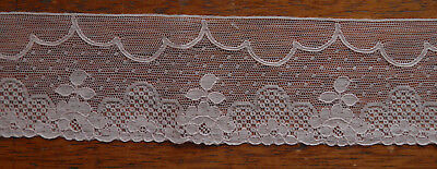 "3 Yd Antique French Alencon Victorian Vintage Lace 2.25"" Dusty Pink Clouds Dots"