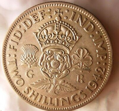 1942 GREAT BRITAIN FLORIN - WW2 - Great Strong Grade Silver Coin - Lot #520
