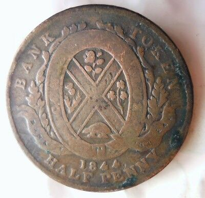 1844 CANADA (MONTREAL) 1/2 PENNY - RARE Vintage Coin - + Value- Lot #520
