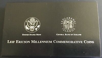 2000 Leif Ericson 2 Coin Proof Set --  U S & Icelandic Silver $  - Free Shipping