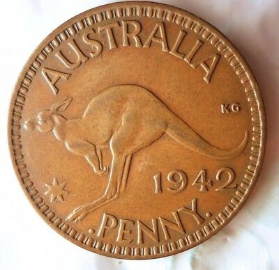 1942 I AUSTRALIA PENNY - AU/UNC - AWESOME Strong Value Coin - Lot #520
