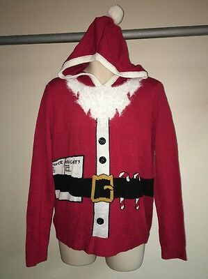 Ugly Christmas Sweater Merry Christmas Large Santa Hoodie Red Unisex NWOT