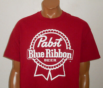 PABST BLUE RIBBON PBR Beer T-Shirt RED Classic Vintage Retro Print Mens NEW : XL