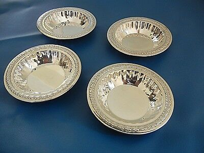 """STERLING  SILVER    4  SMALL 3 3/8 """"  NUT DISHES    124.7 grams - EXC."""
