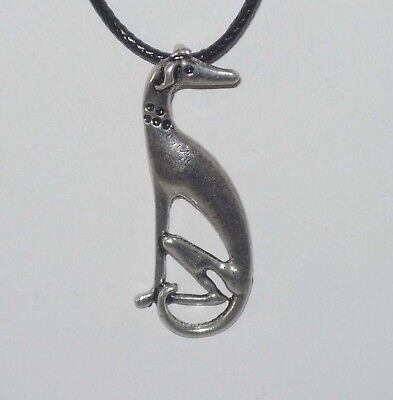 Sitting Greyhound or Whippet Pewter Pendant, Cord Necklace