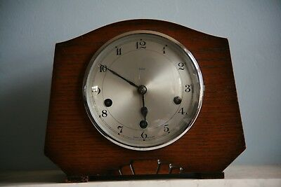 Antique Smiths Enfield Mantel Clock Good Quality Oak Art Deco Case