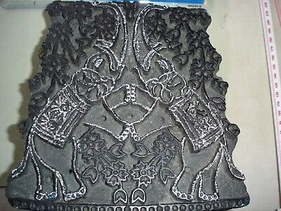 Antique Wooden HAND PRINTING BLOCK  - ELEPHANTS for Wallpaper Fabric Cloth