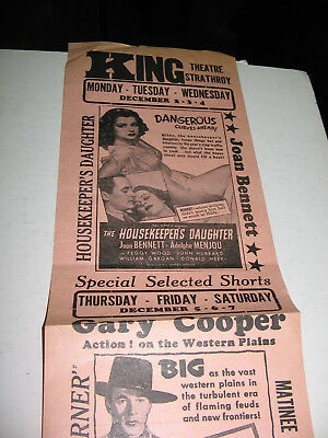 1940s KING THEATRE STRATHROY,ONTARIO FLYER GARY COOPER  IN THE WESTERNER & MORE