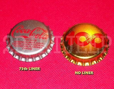 BOTH WOW COCA-COLA COKE 75th & 100th ANNIVERSARY SODA POP P/L UNUSED BOTTLE CAPS