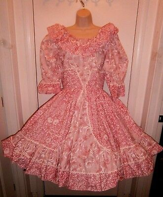 Vintage Call It Fancy Square Dance Dress Pink Size 14 With Matching Neck Tie