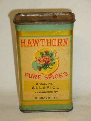 Nice Old Litho General Store Hawthorn Brand Allspice Advertising Spice Tin Can