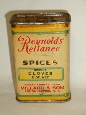 Nice Old Litho General Store Reynold's Reliance Cloves Advertising Spice Tin Can