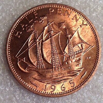 Great Britain UK 1/2  Penny 1965 Bronze Elizabeth II.  #0002