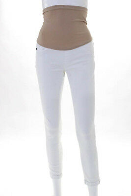 AG Adriano Goldschmied White Cotton Slim Cut Maternity Skinny Jeans Size 26
