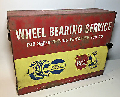 Vtg Bower Federal Bearings Service Station Store Display Metal Wall Cabinet Oil