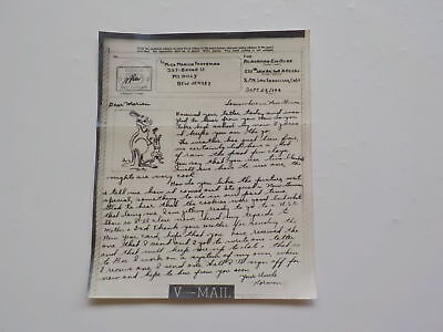 WWII V-Mail Letter 1944 Kangaroo Illustration Mt. Holly New Jersey WW2 World War