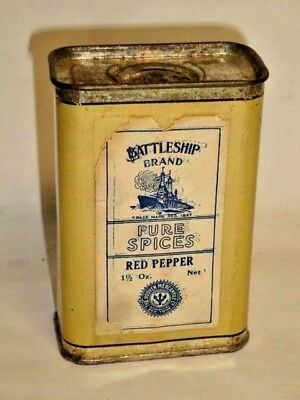 Nice Old General Store Battleship Red Pepper Advertising Spice Tin Can