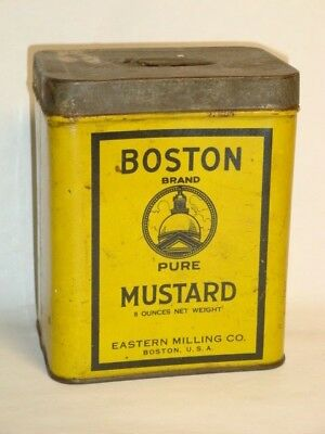 Nice Old Litho General Store Boston Brand Mustard Advertising Spice Tin Can