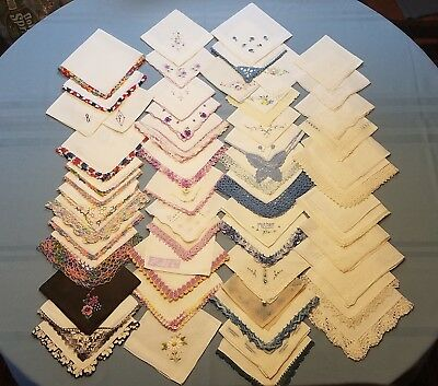 Lot of 55 Vintage Handkerchiefs Cutters for Crafts Embroidered & Lace Flaws