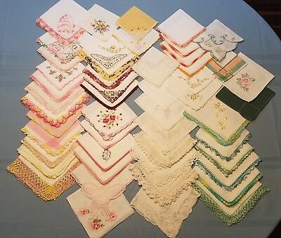 Lot of 50 Vintage Handkerchiefs Cutters for Crafts Embroidered & Lace Flaws